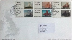 GB FDC 2015 POST & GO SAILING SHIPS. BUREAU HANDSTAMP