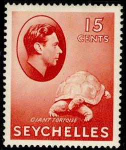 SEYCHELLES SG139a, 15c brown-carmine CHALKY PAPER, M MINT. Cat £28.