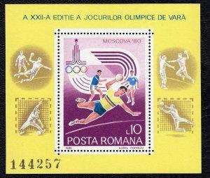 Romania 1980 Olympic Games - Handball Mint MNH Miniature Sheet SC 2968