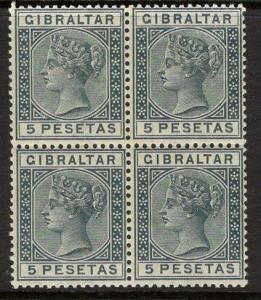 GIBRALTAR SG33 1889 5p SLATE-GREY MTD MINT BLOCK OF 4