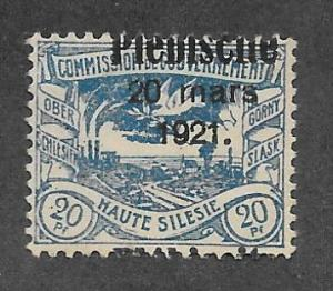 Upper Silesia Scott 34 Mint 20pf O/P Dove w/ Olive Branch stamp 2015 CV $5.50