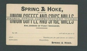 Ca 1887 UX7 Mint Face W/Preprinted Back For Spices & Coffee Dealer Spence & Hoke