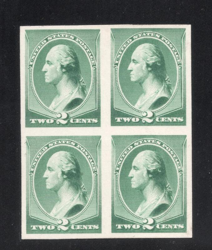 #213P-4 Green - Block of 4 - Engraved Plate Proof on Card