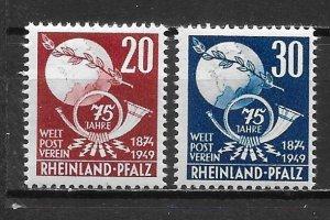 Germany Rhein-Palatinate 6N41-42 75th UPU set MNH (z4)
