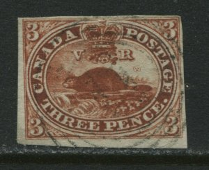 Canada 1852 3d red imperf Beaver 4 margins very light Cornwall 4 ring 11