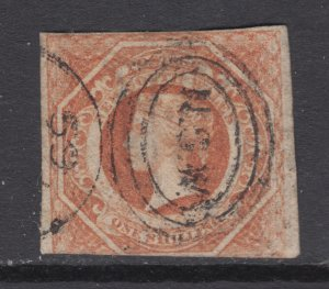 New South Wales SG 101, Sc 31, used. 1854 1sh Diadem, inverted 12 watermark