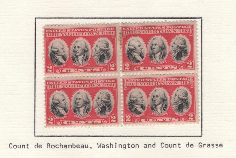 US 1931 Yorktown Issue Block of 4 Stamps Scott Mounted on Sheet MH