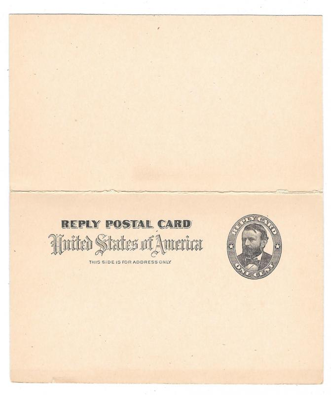 UY3 Message Postal Card with Paid Reply Grant 1898 VF Folded Unsevered Unused