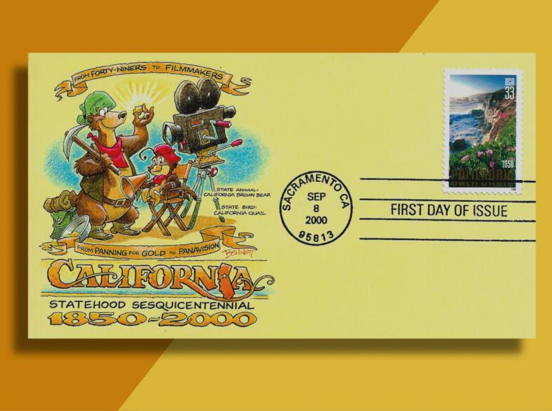 Prospecting Bear & Movie-Making Quail on California Sesquicentennial 3438 FDC