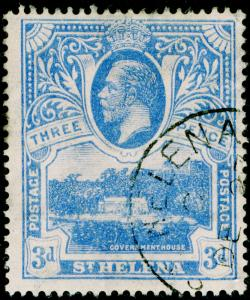 ST. HELENA SG91, 3d bright blue, FINE USED, CDS. Cat £95.