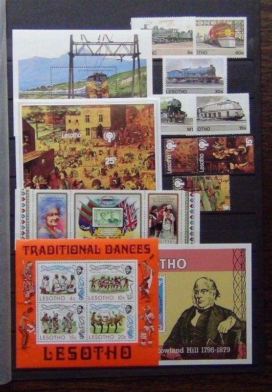 Lesotho 1975 1984 sets M/S Railway IYC Queen Mother Dance Rowland Hill MNH
