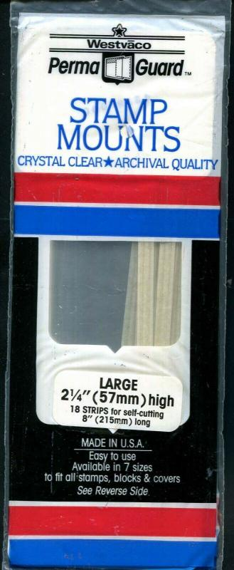 Perma Guard Stamp Mounts Clear Crystal: Large 57mm X 215mm 18 Strips New Sealed