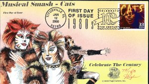 Beautiful Pugh Painted Musical Cats FDC -only 143 created...