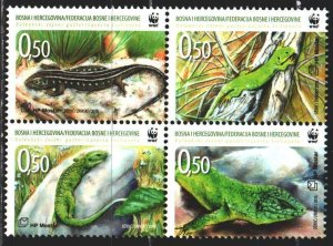 Bosnia and Herzegovina. 2010. apt 299-302. Lizards, WWF. MNH.