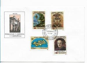 REP. DOMINICANA DOMINICAN REPUBLIC 1991 PRIMACIAS DE AMERICA HISTORY FDC