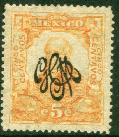 MEXICO 488, 5c Carranza Revolutionary Ovpt. MINT, NEVER HINGED. F-VF.