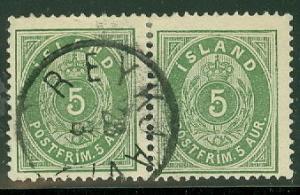 ICELAND #16 5aur green, used Pair w/full Reykjavik cancel, Facit $43.00