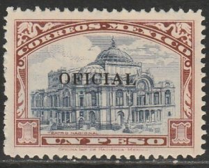 MEXICO O223a, $1P OFFICIAL, WITHOUT EAGLE IN DOME. MINT, NH. VF.