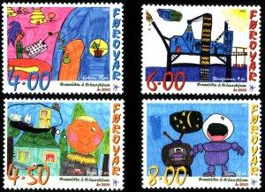 Faroe Islands 2000 #379-82 MNH. Children drawings