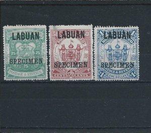 LABUAN 1896 HIGH VALUE SET OF THREE OVERPRINTED SPECIMEN MM SG 80s/82s CAT £70