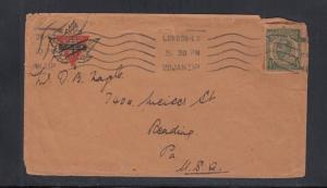 Cover England to USA Postal Card Used as Stamp 1921