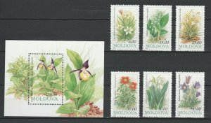 Moldova MNH S/S & 6 Stamps Flowers 1993