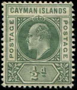 Cayman Islands SC# 8 SG# 8 Edward VII 1/2d wmk 3 MH