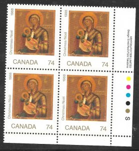 Canada 1224: 74c Madonna and Child, plate block, MNH, VF