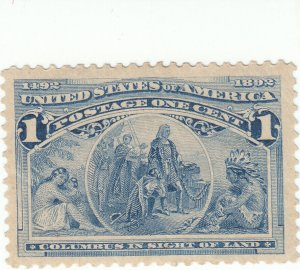 Scott # 230 - 1c Deep Blue - Mint Hinged - SCV - $15.00