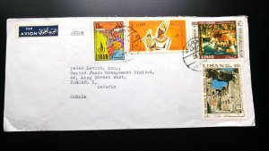 RARE LEBANON 1968 MULTIPLE STAMPS AIRMAIL COVER SENT TO TORONTO, CANADA UNIQUE