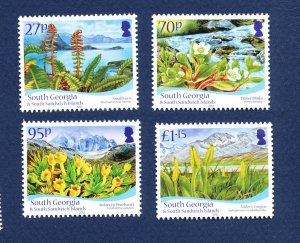 SOUTH GEORGIA - # 412-415 - MNH - Flowers - 2010