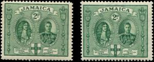 Jamaica SC# 130, 130a  SG# 135a, 135 Kings Charles II & George VI MH