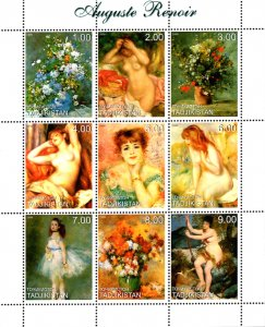 Tajikistan 1999 Famous Nude Paintings by Auguste Renoir 9v MNH. (L-128)