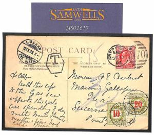 GB Card 1903 SWITZERLAND Postage Dues Shepperton Middx {samwells-covers}MS2617