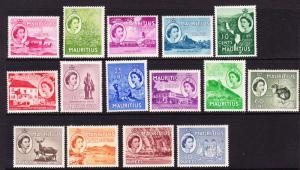 MAURITIUS 1953 QEII PICTORIALS SET 15  MNH/MLH