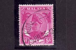 Malaya Selangor-Sc #95-used-5c rose violet-1952-55-