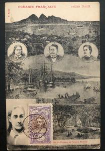 1914 Papeete French Tahiti Picture Postcard Cover Royal Family & Landscapes