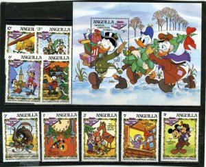ANGUILLA 1983 Sc#547-556 WALT DISNEY CHARACTERS SET OF 9 STAMPS & S/S MNH