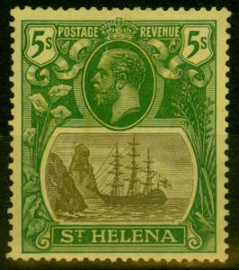 St Helena 1927 5s Grey & Green-Yellow SG110a Broke Mainmast Fine Mtd Mint Scarce