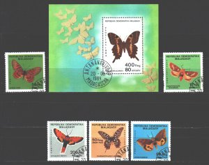 Madagascar. 1984. 958-62, bl27. Butterflies. USED.