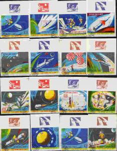 RARE 1970 HAITI APOLLO 12 SPACE COMPLETE SET OF 16 IMPERF  STAMPS!!