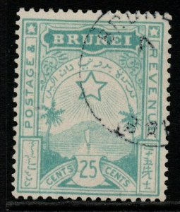 BRUNEI SG8 1895 25c TURQUOISE-GREEN FINE USED
