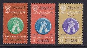 Sudan  #200-202   MNH  1967  Arab League Summit Conference