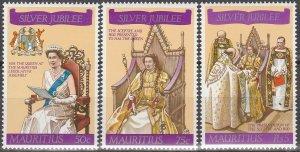 Mauritius MNH 433-5 QE II Silver Jubilee 1977