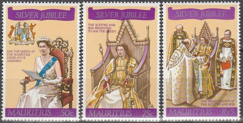 Mauritius MH 433-5 QE II Silver Jubilee