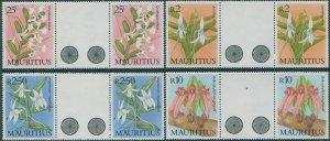 Mauritius 1986 SG736-739 Orchids gutter pairs set MNH