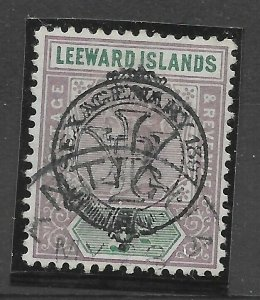 LEEWARD ISLANDS SG9a 1897 JUBILEE ½d MAUVE & GREEN OVPT DOUBLE USED