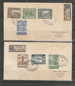 Jamaica FDC 1945 New Constitution, on 2 plain FDCs, Addressed to Mrs David Bowie