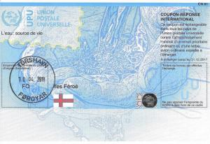 FAROE ISLANDS - (IRC) INTERNATIONAL REPLY COUPON (140th Year) (POSTMARKED), MNH