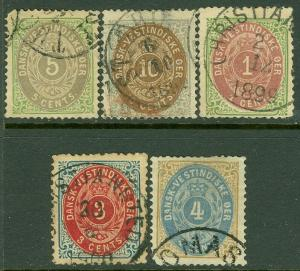 EDW1949SELL : DANISH WEST INDIES 1874-98 Sc #7, 8, 10, 16, 17 VF, Used Cat $114.